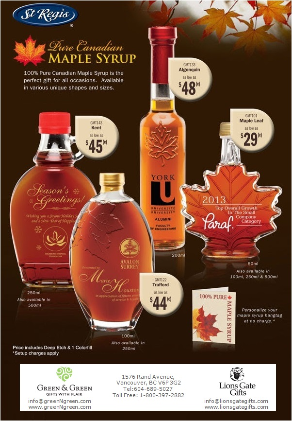 b1aa8e8468d 100% Pure Canadian Maple Syrup is the perfect gift for all occasions.  Available in various unique shapes and sizes. Price includes Deep Etch   1  colorfill.